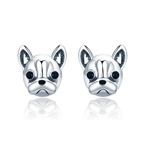 French Bulldog Earrings Sterling Silver Enamel Stud Earrings for Girls Birthday Gift By Presentski