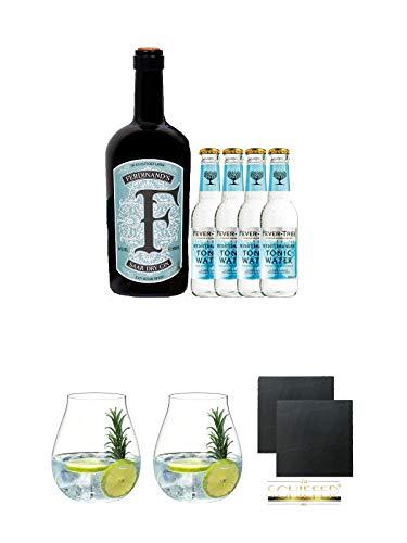 Ferdinands Saar Dry Gin 0,5 Liter + 4 x Fever Tree Mediterranen Tonic Water + Gin Tonic Glas - 5414/67 + Gin Tonic Glas - 5414/67 + Schiefer Glasuntersetzer eckig ca. 9,5 cm Ø 2 Stück