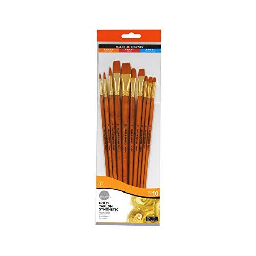 Daler Rowney 216920110 - Set di 10 pennelli con ghiera Dorata e Manico Lungo
