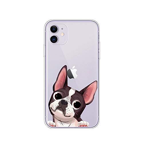 Cover posteriore in TPU per iPhone 11 Pro X XR XS MAX 8 7 Pug Dog Bulldog francese Custodia morbida in silicone per iPhone 8 7 6S 6 S Plus - A3057 - per iPhone 7 Plus