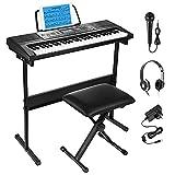 Moukey Kit de Teclado Piano Electrico 54 Teclas, Piano Digital Electrónico para Principiantes con Soporte de Teclado de Piano/Banco/Auriculares/Pegatinas de Música/Micrófono, Función de Aprendizaje