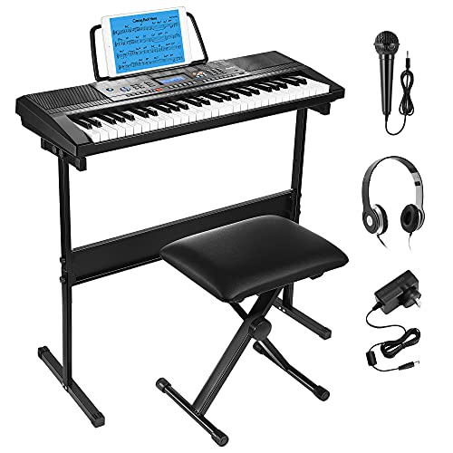 Moukey 54-Key Keyboard Piano Kit, Electronic Keyboard for Beginners with Portable Music Keyboard Stand, Microphone, Piano Stand, Piano Stool, Headphones, Note Stickers, Power Supply, MEK-54A