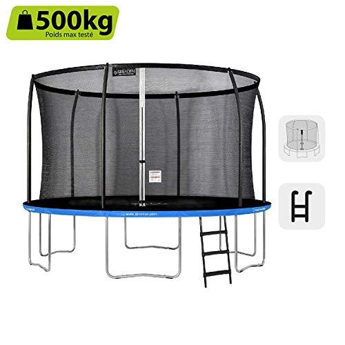 Greaden Freestyle - Cama elástica de jardín redonda y escalera, pack plus fitness, azul, exterior, azul