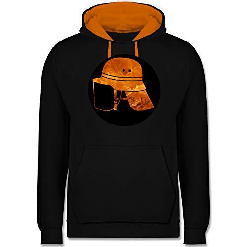 Feuerwehr - Feuerwehr Helm Flammen - XXL - Schwarz/Orange - Silhouette - JH003 - Hoodie zweifarbig und Kapuzenpullover für Herren und Damen