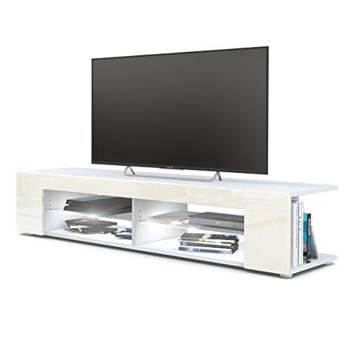 Vladon TV Board Lowboard Movie, Korpus in Weiß matt/Fronten in Creme Hochglanz inkl. LED Beleuchtung in Weiß