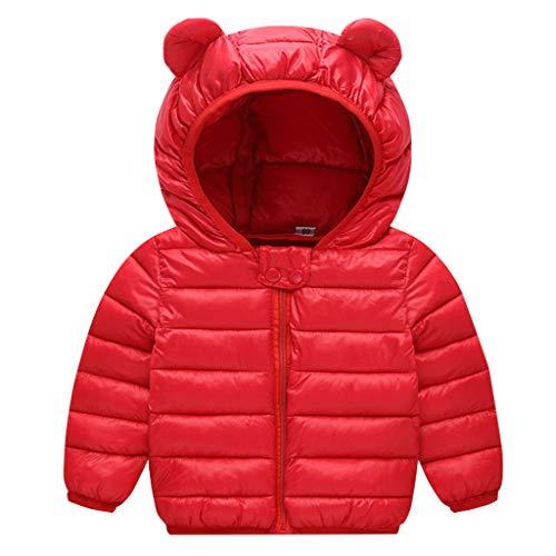 JiAmy Bebé Chaqueta Invierno Abrigo con Capucha Ligero Trajes Ropa de Calle Acolchado Rojo 2-3 Años