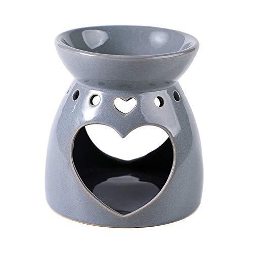 Lámpara aromática de cerámica, portavelas, vela de aroma, decorativa, para aceite de aromaterapia y cera de aromaterapia (gris)