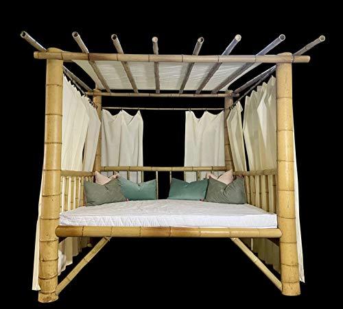 Luxus Bambus Outdoor-Bett XXL Sonnenliege Sonnenbett Gartenbett Himmelbett Daybed Gartenliege Liege Gartenmöbel