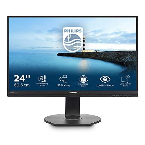 Philips 241B7QUPEB/00 60,5 cm (23,8 Zoll) Monitor (VGA, HDMI, USB-C, DisplayPort, IPS Panel, Daisy Chain, USB Hub, 1920x1080, Pivot) schwarz