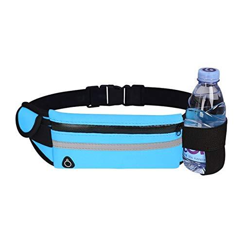 Bolsa de cintura para correr a prueba de agua Bolsas de cinturón deportivas al aire libre (Color : Bottle holder blue)