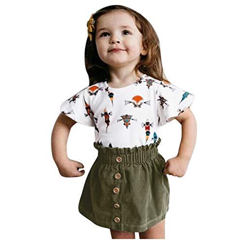 Kleinkind Baby Mädchen Outfits Set Kurzarm Cartoon T-Shirt Tops + Solid Röcke Kleidung Set, Grün, 2-3 Jahre