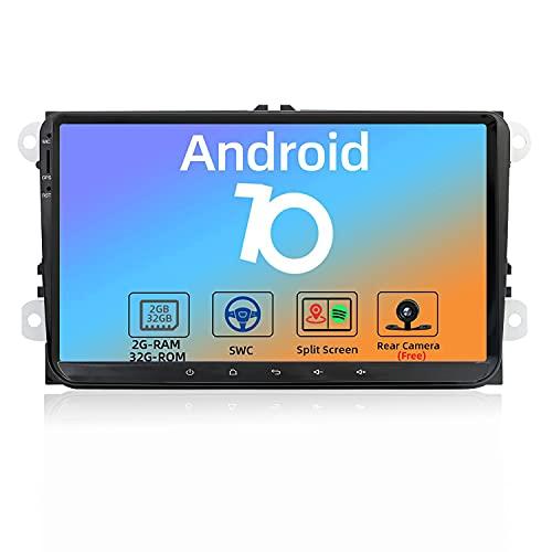 JOYX Android 10 Autoradio Compatibile VW Skoda/POLO/PASSAT/B6/CC/GOLF/Fabia - GRATUITI Telecamera Canbus - [2G/32G] - 9 Pollici 2 Din - Supporto DAB WLAN Bluetooth5.0 Carplay 4G Android Auto Volante