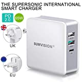 "Sumvision 65W PD USB Type C Power Delivery Multi Port Wall Charger for Apple Macbook Pro 13"", Laptops, iPhone, ipad, Android, Nintendo Switch, Tablets, USB Type A Quick Charge 3.0 Travel Adaptor"