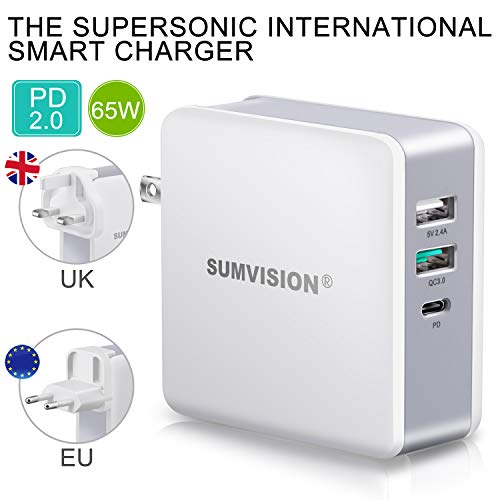 SUMVISION 65W PD USB C Charger Plug Quick Charge Multi Port Travel Adapter Fast Wall Charger for Apple Macbook Pro iPad Pro iPhone Android Laptops Phones Tablet Nintendo (UK DESIGN UK TECH SUPPORT)