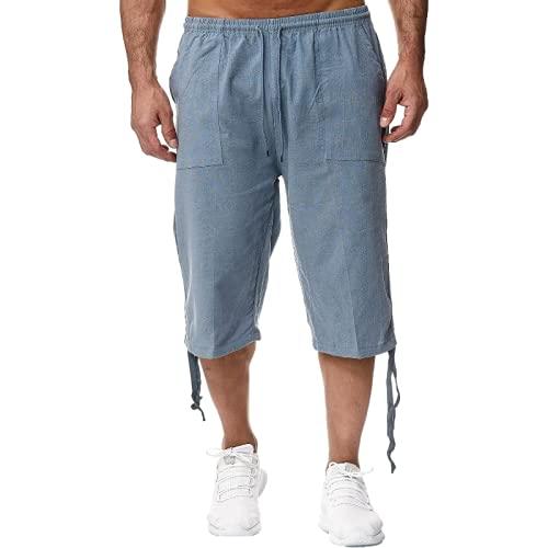 nobranded Pantaloni da Uomo Multi-Bag Streamer Fibbia Coulisse Regolabile Coulisse Casual Regolabile Apertura alla Caviglia Pantaloni Sportivi