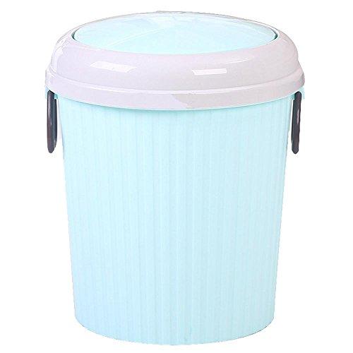 QJIAXING Plastikmüll kreative Rollenabdeckung Muscheln Bedecken Gesundheit Fässer Haushalt Küche Wohnzimmer Bad Papierkorb Bonbonfarben, Blue, 3303b Shake Cover (Trumpet 6l)