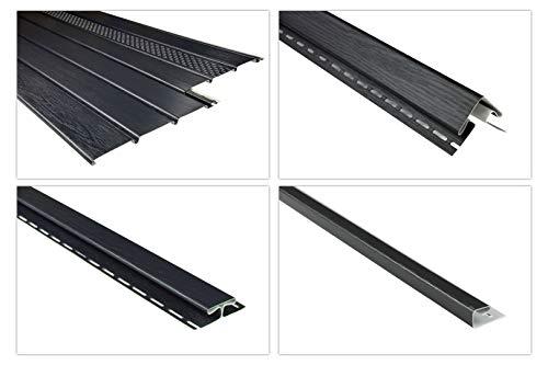 RAINWAY Kunststoffpaneele & Zubehör anthrazit - Verkleidung von Dachüberständen, Decken- & Wandflächen - (1 Paneel, 2m standard) Dachkasten Dachübertstand