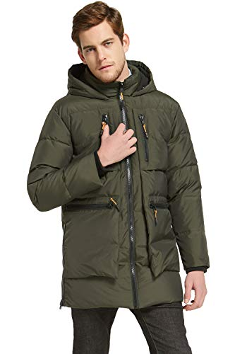 Orolay Men's Thickened Down Jacket Classical Winter Hooded Coats with Multiple Pockets ArmyGreen L