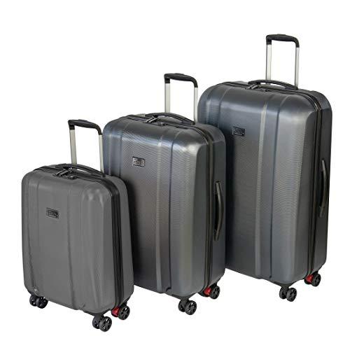 Hochwertiges Sioux Marken-Reisekoffer-Set 3 teilig in den Größen S, M, L 4 Rollen mit Kofferbremse TSA Schloss Farbe grau aus Polycarbonat Packtrennwände...