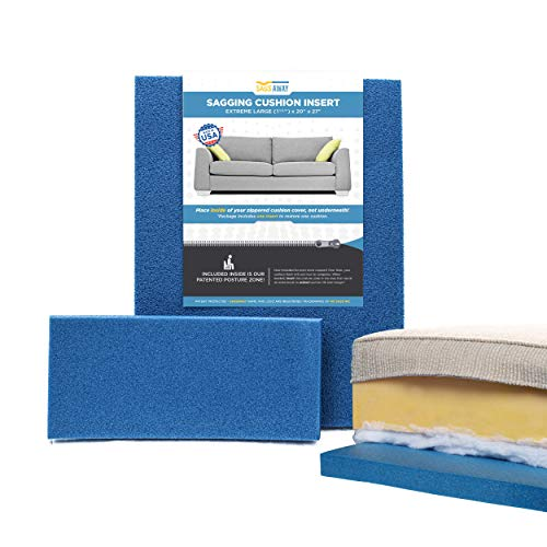 SagsAway New 2 Pc Sagging Sofa Cushion Repair Kit for One Cushion. 1.5 in Thick Military Grade Foam Insert and .5in Posture Zone Fix Saggy Seats, Add Comfort, and Thickness, Delay Replacing Furniture