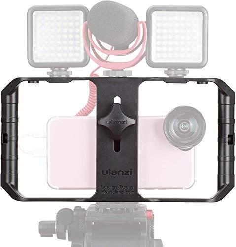 ULANZI u-Rig Pro Smartphone Video Rig PDA iPhone Kameratechnik Käfig mit 3 Cold Shoe Mounts Handy Video Stabilisator für Video Projektor videomaker für iPhone 11 Pro Max X 8 7 Plus Samsung Xiaomi