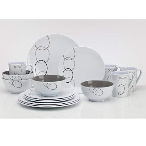 Vajilla de melamina de 16 piezas para 4 personas, color blanco, vajilla para camping, picnic, ideal para camping, 16 piezas, plato, cuenco, taza, vaso, vajilla moderna de melamina