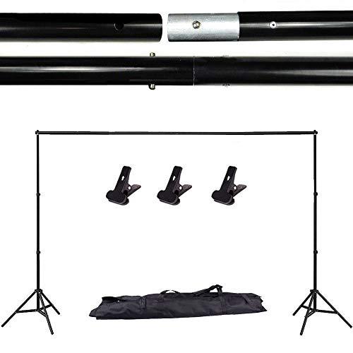 YISITONG Portable Verstelbare achtergrondstandaard Kit 2m * 3m (6.6ft * 9.8ft) - Statief is verstelbaar + draagtas - Fotostudio Achtergronden Backdrop Support System Kit