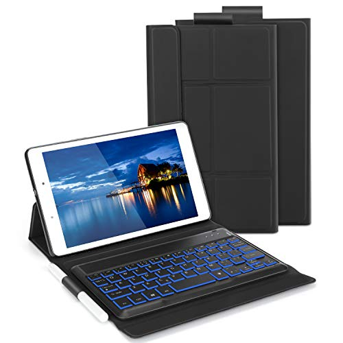 Bluetooth Backlit Keyboard Case for Samsung Galaxy Tab A 8 inch 2019, Jelly Comb Removable Wireless Keyboard Qwerty UK Layout with Leather Cover for Samsung Galaxy Tab A 8 T290,T295, Black