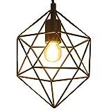 KAUTO Canasta de Alambre de Metal Negro Retro Industrial Estilo Jaula de Diamante Pantalla de lámpara Colgante Iluminación Colgante Techo para Cocina Sala de Estar Bar Luminaria