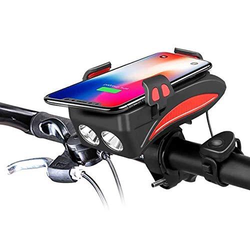 Luci Bicicletta LED,Porta Telefono Bici con Power Bank 3000Mah/6000Mah, Avvisatore Acustico da 50/70/90/120/150 Db, Adatto per Modelli di Telefoni Cellulari da 3,9 in-6,8 in,Rosso,6000mAh
