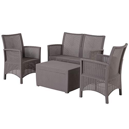 Outsunny Vierteiliges Gartenmöbel Set, Sitzgruppe, Sofa mit Sitzkissen, Tisch mit Stauraum, Polyester, Grau
