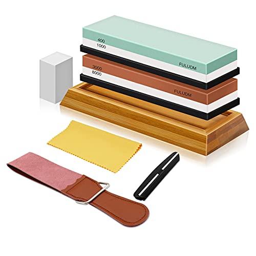 FULUDM Schleifstein Set Abziehstein Wetzstein für Messer, Körnung 400/1000 3000/8000 Küchenmesserschärfer Set mit rutschfestem Silikonhalter Doppelseitiger Messerschärfer für Küche