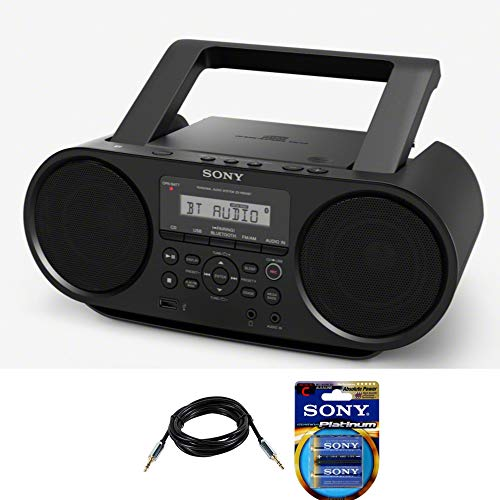 Sony ZSRS60BT CD Boombox with Bluetooth and NFC (Black) with 10ft AUX Cable and 6 Stamina Platinum C Batteries