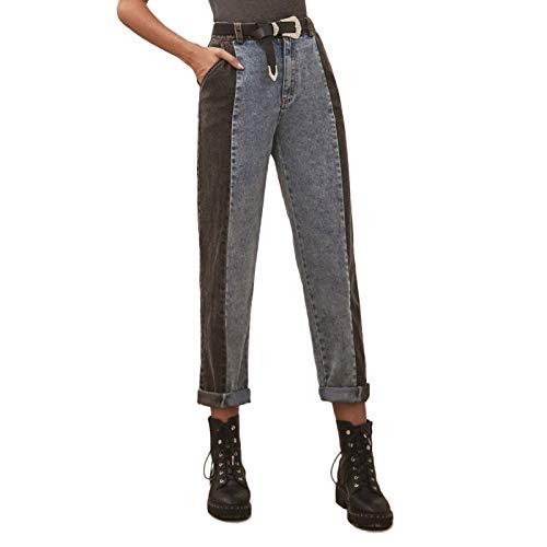 Qinvern Jeans de Mujer Moda Streetwear Costura Retro Denim Lavado Crimpado Color a Juego Pierna Recta Todo-fósforo M