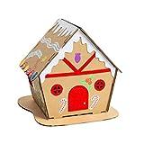 LUOEM Casa de Pan de Jengibre de Papel de Navidad Kits de Material de Bricolaje Casa de Galletas de Galletas Led de Navidad Adornos Iluminados Decoración (Tipo 3)
