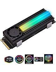 EZDIY-FAB 5V ARGB M.2 Refrigerador SSD de Disipador con Ventilador de 20mm para PCIE NVME o SATA M.2 2280 Refrigeración SSD, con Almohadilla Térmica (SSD no Incluida)