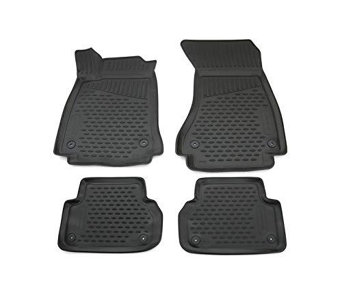 V-MAXZONE PARTS Juego de alfombrillas de goma negra TPE VD355 para todo tipo de clima, sin olor, alfombrillas de coche, 4 piezas, compatible con Audi A4 tipo B9 2015 2016 2017 2018 2019