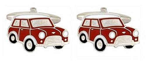 DLC Rot Mini Auto Emaille Rhodium Manschettenknöpfe