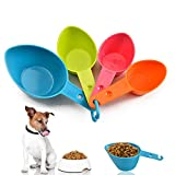 Lainrrew Pet Food Scoop, Plastic Measuring Cups Set Measuring Scoops for Dog Cat Bird Food (Set of 4)