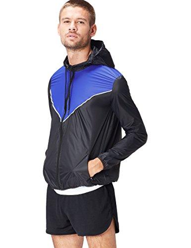 Activewear Cortavientos para Hombre, Negro (Black/Cobalt Blue), Large