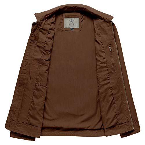 WenVen Men's Spring Lightweight Multi Pockets Casual Cotton Jackets(Coffee,2XL)