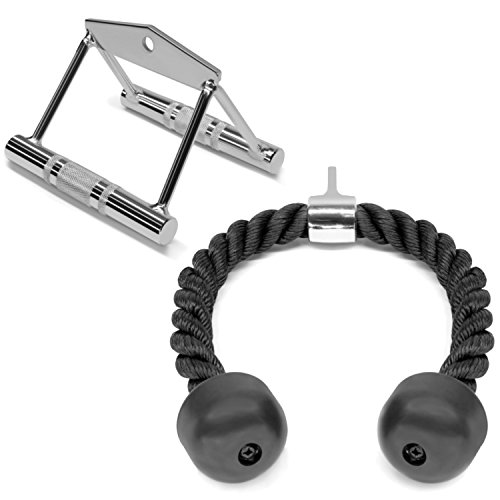 A2ZCARE Combo Tricep Press Down Cable Attachment | Multi-Option: Double D Handle, V-Shaped Bar, Tricep Rope, Rotating Straight Bar (V Handle + Tricep Rope)
