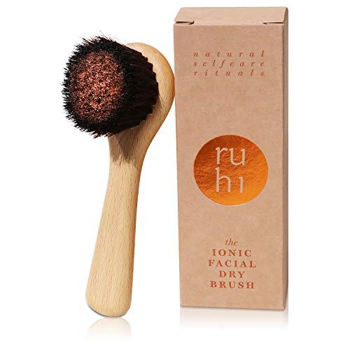 ruhi® Klosterbürste Gesicht [NEU] Kupferbürste | Gesichtsbürste Kupfer & Naturborsten zur Trockenbürsten Massage gefertigt in DE| Ionic Dry Brush Face| regionales, FSC-zertifiziertes Buchen Holz