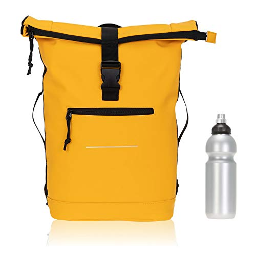 Elephant Rucksack Herren Plane Time Bag Kurierrucksack Roll-Top Fahrradrucksack Sport Fitness Damen 23 Liter A4 12821 + Flasche (Mandarin-Gelb)