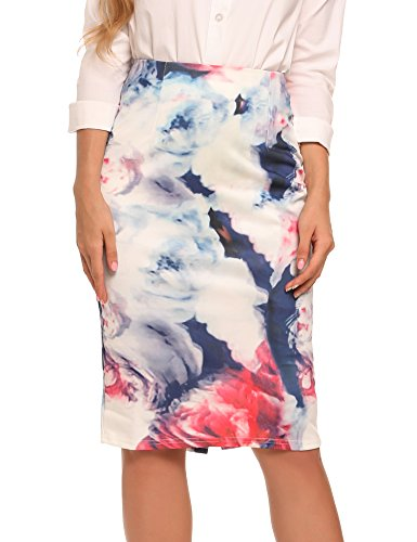 Zeagoo Women's Elastic Waist Stretchy Office Pencil Skirt With Beautiful Prints Gradient Purple XX-Large
