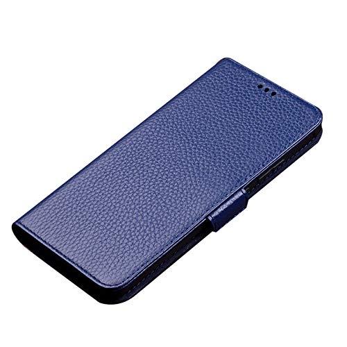 qichenlu [Magnetverschluss,mit Standfunktion Litschi Saphirblau Echt Leder Klapphülle für Find X3 Pro,Rindsleder Handytasche Flip Wallet Hülle Magnetisch Hülle für Oppo Find X3 Pro