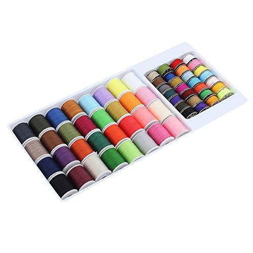 ShawFly Juego de hilos de coser 60 PCS Juego de viaje de costura Caja de hilos Rosca inferior Línea superior Línea de color del hogar Apto para coser a mano y coser a máquina