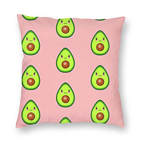 ~ Too Much Avocado Home Decor Throw Pillow Cover, Lightweight Soft Plush Square Decorative Pillow Case 18x18 Inch Cushion Cover, Sham Stuffer, Machine Washable