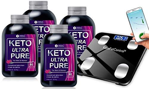 Formule Keto Ultra Pure Booster d'énergie - Cure 4 mois et Balance Connectée Offerte - Aide à la Perte de Poids - Ingrédients 100% Naturels