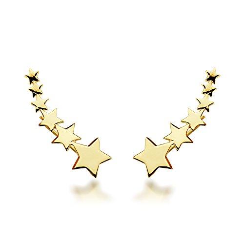 Iyé Biyé Jewels - Pendientes estrellas trepadores mujer plata de ley 925 bañados en oro amarillo